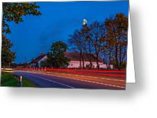 Moon Over E77 Road In Warmia Region In Poland Greeting Card