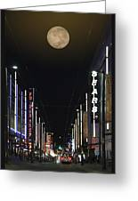 Moon Over Granville Street Greeting Card by Ben and Raisa Gertsberg