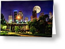 Moon Over Houston Greeting Card by Lester Phipps
