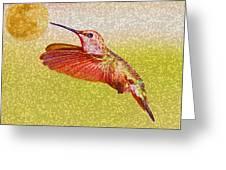 Moon Over Hummingbird Greeting Card