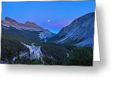 Moon Over Icefields Parkway Greeting Card