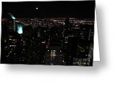 Moon Over New York City Greeting Card