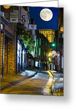 Moon Over Old City Of The York Greeting Card