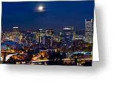Moon Over Portland Oregon City Skyline At Blue Hour Greeting Card