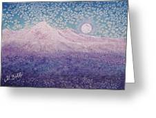 Moon Over Snowy Peaks Greeting Card
