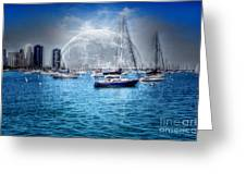 Moon Over The City Harbor Greeting Card