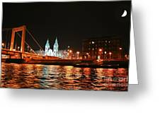 Moon Over The Danube Greeting Card