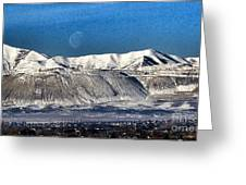 Moon Over The Snow Covered Mountains Greeting Card