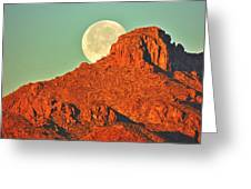 Moon Over Tucson Mountains Greeting Card