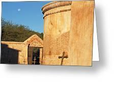 Moon Over Tumacacori Mortuary Greeting Card
