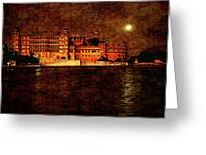 Moon Over Udaipur Painted Version Greeting Card