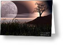 Moon Rise On Another World Greeting Card