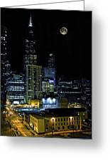 Moon Rise Over Downtown Chicago And The Willis Tower #2 Greeting Card
