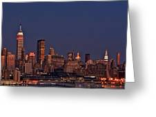 Moon Rise Over Manhattan Greeting Card
