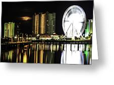 Moon Rise Over Pensacola Greeting Card
