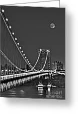Moon Rise Over The George Washington Bridge Bw Greeting Card