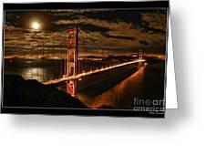 Moon Rise San Francisco Golden Gate Bridge Greeting Card