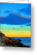 Moon Rising In New England Greeting Card
