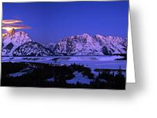 Moon Sets Over Behind The Tetons Panorama Greeting Card