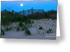 Moon Setting At Beach Plum Island Greeting Card