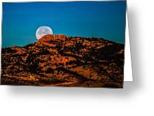 Moon Setting Behind Horsetooth Rock At Sunrise Greeting Card