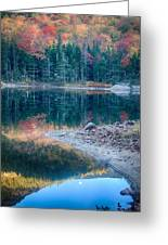 Moon Setting Fall Foliage Reflection Greeting Card