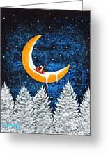 Moon Sledding Greeting Card
