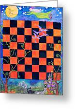 Flight Of The Moon Witch Checkerboard Greeting Card
