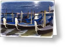 Moonlight Gondolas - Venice Greeting Card