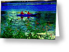 Moonlight Kayak Ride Along The Coastline Of The Lachine Canal Quebec Sea Scenes Carole Spandau Greeting Card
