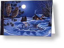 Moonlight Magig-great Horned Owls Greeting Card
