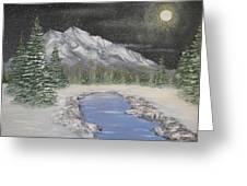 Moonlight Mountain Greeting Card