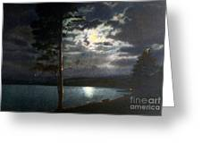 Moonlight On Yellowstone Lake Greeting Card