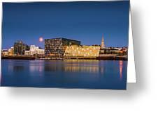 Moonlight Over Reykjavik Harbor Greeting Card