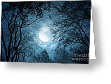 Moonlight With Forest Greeting Card by Boon Mee