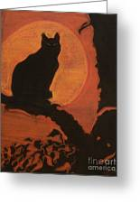 Moonlighting Cat Greeting Card