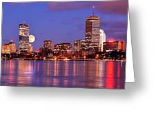 Moonlit Boston On The Charles Greeting Card