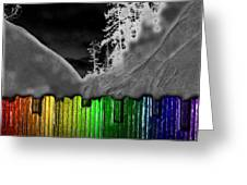 Moonlit Mountainside Behind Rainbow Fence Greeting Card