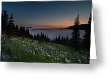 Moonlit Rainier Meadows Sunset Greeting Card