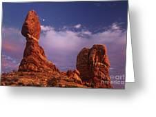 Moonrise At Balanced Rock Arches National Park Utah Greeting Card