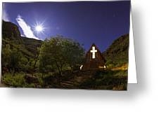 Moonrise Chapel Greeting Card by Aaron Bedell