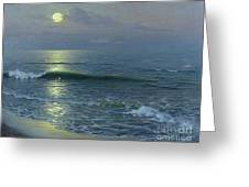 Moonrise Greeting Card by Guillermo Gomez y Gil