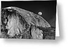 Moonrise Over Half Dome Greeting Card
