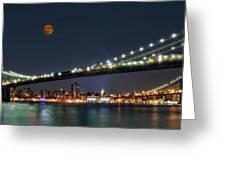 Moonrise Over Manhattan Greeting Card