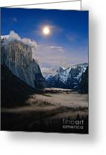 Moonrise Over Yosemite National Park Greeting Card