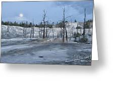 Moonset At Mammoth Terrace-yellowstone Greeting Card