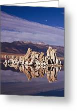 Moonset Over Tufa Greeting Card