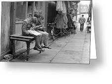 Boys Reading Comics In Moore Street Dublin Greeting Card