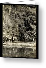 Moored Boat By The River In Tam Coc Greeting Card