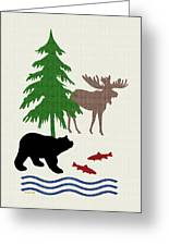Moose And Bear Pattern Art Greeting Card